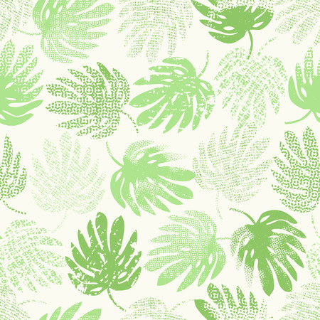 Seamless pattern with leaves monstera.