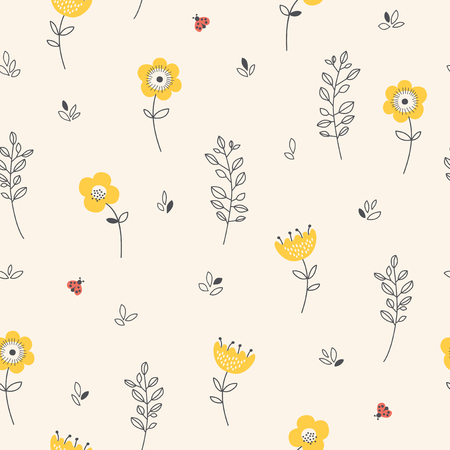 seamless pattern with flowers, leaves and ladybugs