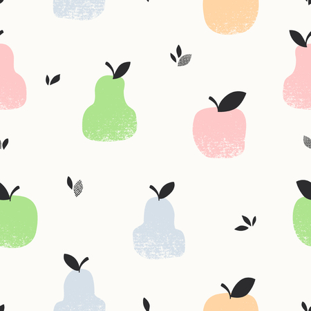 Seamless pattern with apples, pears and leaves Illustration