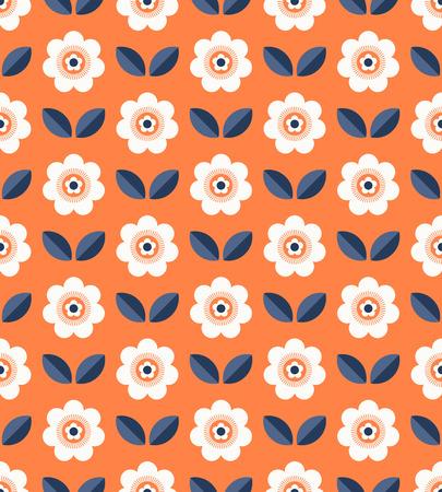Motif rétro transparent avec des fleurs et des feuilles
