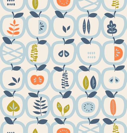 Motif sans couture avec des pommes et des feuilles Banque d'images - 79824410