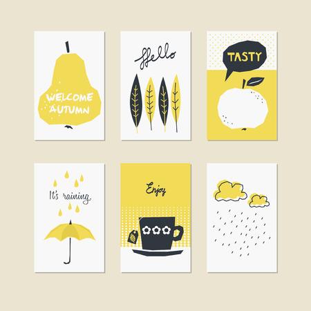 Set of decorative autumn cards