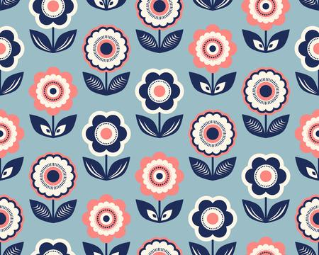 Retro pattern with flowers 向量圖像