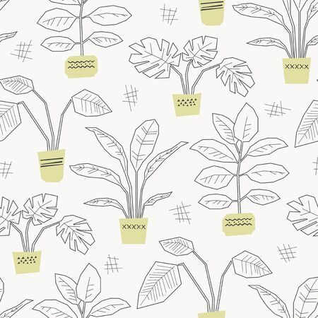 seamless pattern with hand drawn house plants