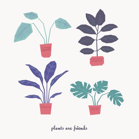 set of houseplants in pots 向量圖像