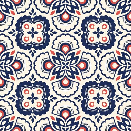 Seamless retro pattern with floral elements 向量圖像
