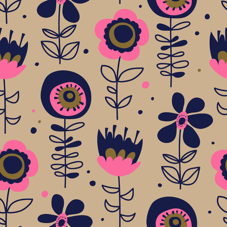 Seamless pattern with hand drawn flowers illustration. 向量圖像