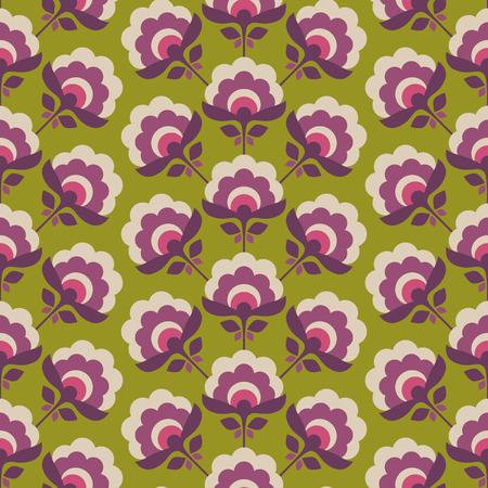 seamless retro pattern with stylized flowers Illustration