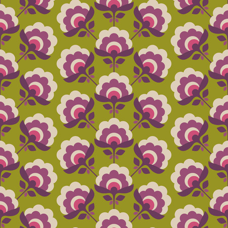 seamless retro pattern with stylized flowers