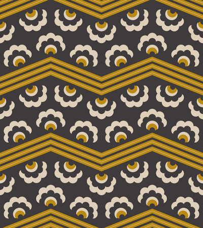 seamless retro pattern with zigzag lines and abstract flower 向量圖像