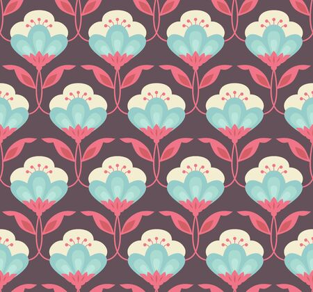 Seamless retro floral pattern background.