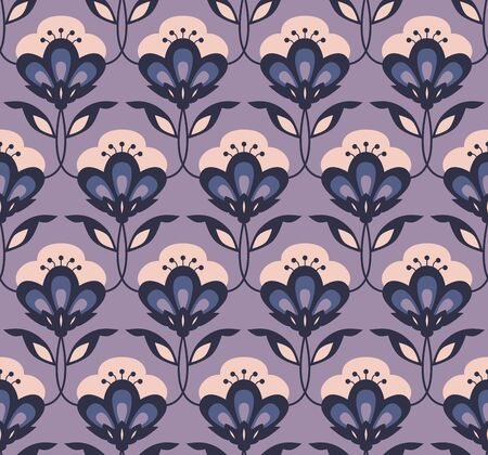 seamless retro floral pattern Vector illustration. Иллюстрация