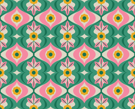 seamless retro pattern with flowers and leaves  イラスト・ベクター素材