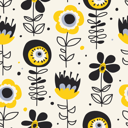 seamless pattern with hand drawn flowers 向量圖像