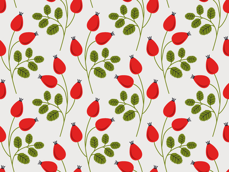 seamless pattern with rose hip branches