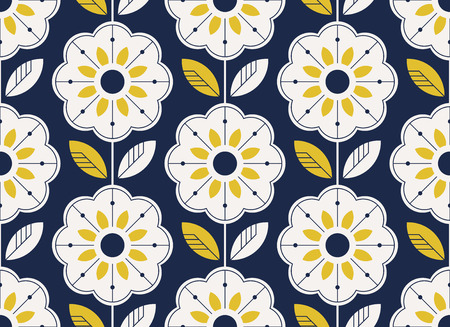 seamless floral pattern in scandinavian style