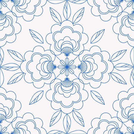 Seamless tiles pattern with floral elements illustration.