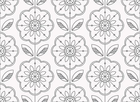 seamless floral pattern in scandinavian style, line art