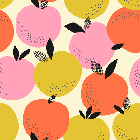 Seamless pattern with pink and yellow oranges