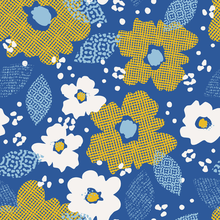 Seamless pattern with flowers and leaves in blue background.