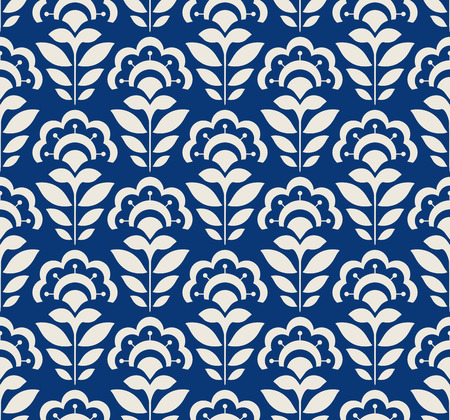 seamless retro pattern with abstract flowers