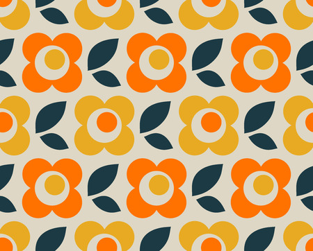 seamless retro pattern with flowers and leaves Illusztráció