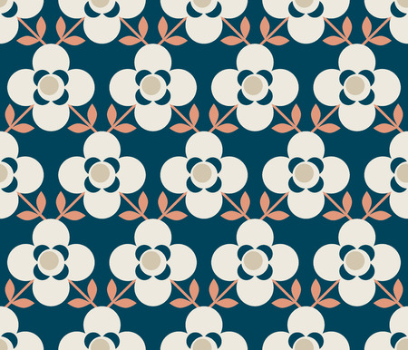 seamless retro pattern with flowers and leaves 向量圖像