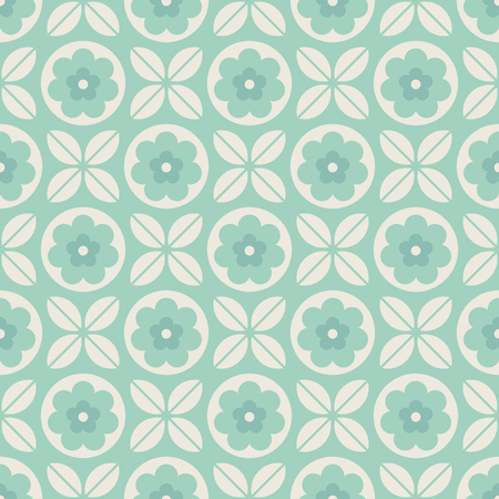 seamless geometric pattern with flowers and leaves 向量圖像