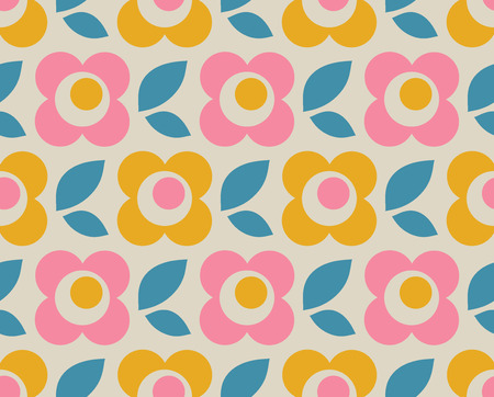 seamless retro pattern with flowers and leaves Vector illustration.