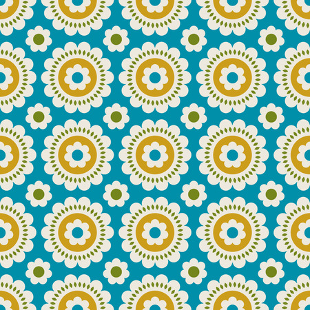 seamless retro pattern with flowers Vector illustration.