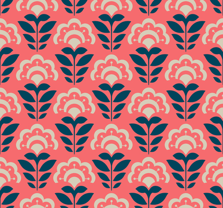seamless retro pattern with abstract flowers Vector illustration.