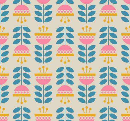 Seamless retro pattern with flowers and leaves
