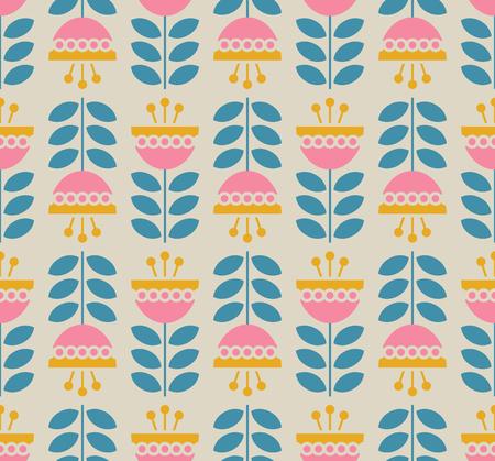 Patrones retro sin fisuras con flores y hojas Ilustración de vector