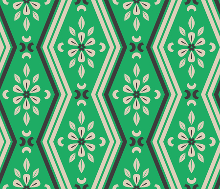 seamless pattern with zigzag lines and floral elements 矢量图像