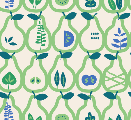 seamless pattern with pears and leaves