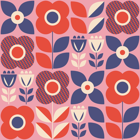 seamless pattern with floral elements in retro scandinavian style 向量圖像