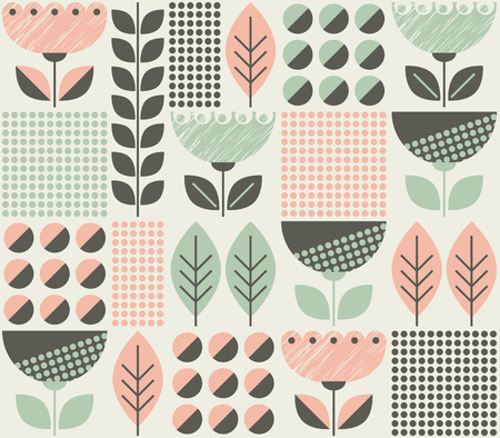 seamless pattern with flowers and leaves in retro scandinavian style Vettoriali