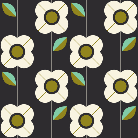 seamless pattern with flowers and leaves in retro scandinavian style Illustration