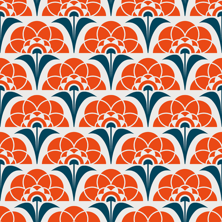Retro pattern with abstract flower