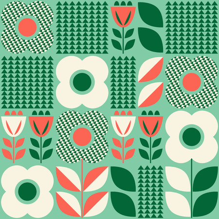 Pattern with floral elements in retro scandinavian style