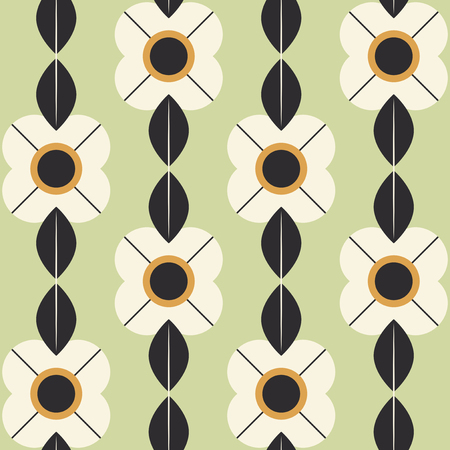 seamless pattern with flowers and leaves in retro scandinavian style 向量圖像