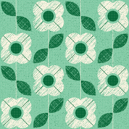 Flowers and leaves seamless pattern in green color in retro Scandinavian style.