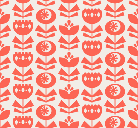 seamless pattern with flowers in retro scandinavian style