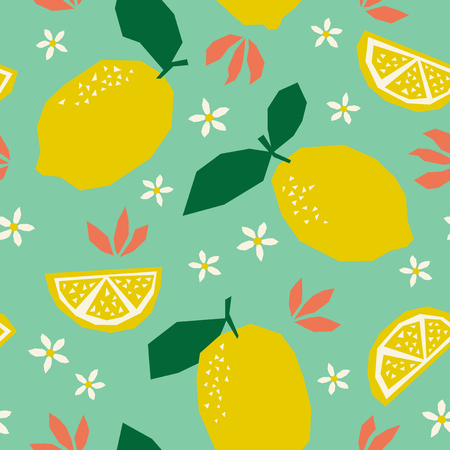 Seamless pattern with lemons and blossoms 向量圖像