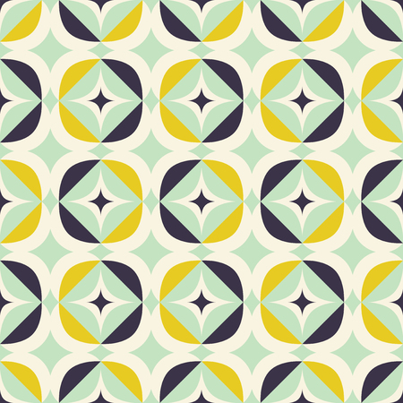 Retro seamless pattern in Scandinavian style with geometric elements.