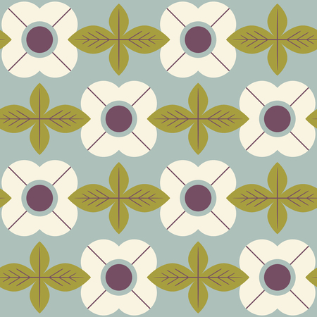 Flowers and leaves in retro Scandinavian style seamless pattern. 向量圖像