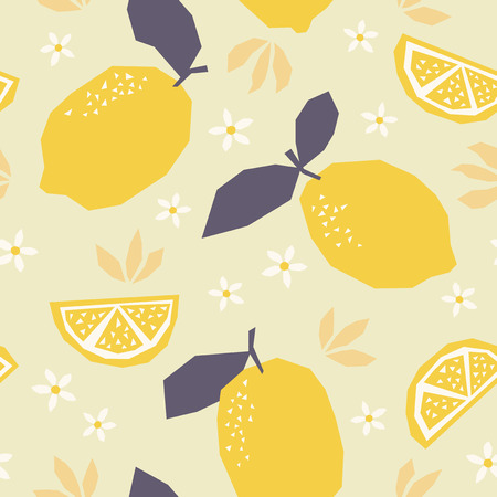 Seamless pattern with lemons and blossoms.
