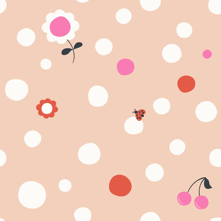 seamless pattern with dots and small childrens symbols