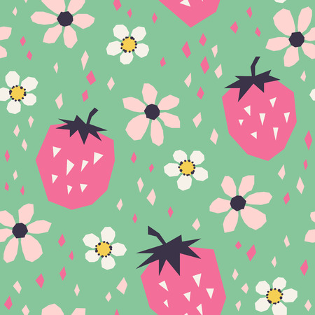 seamless pattern with strawberries and flowers 向量圖像
