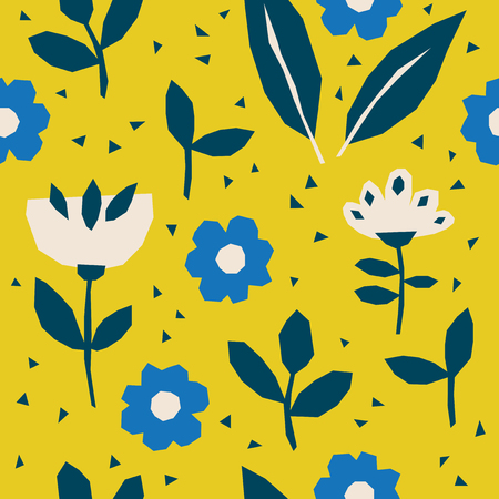 Seamless pattern with flowers and leaves in Scandinavian style.